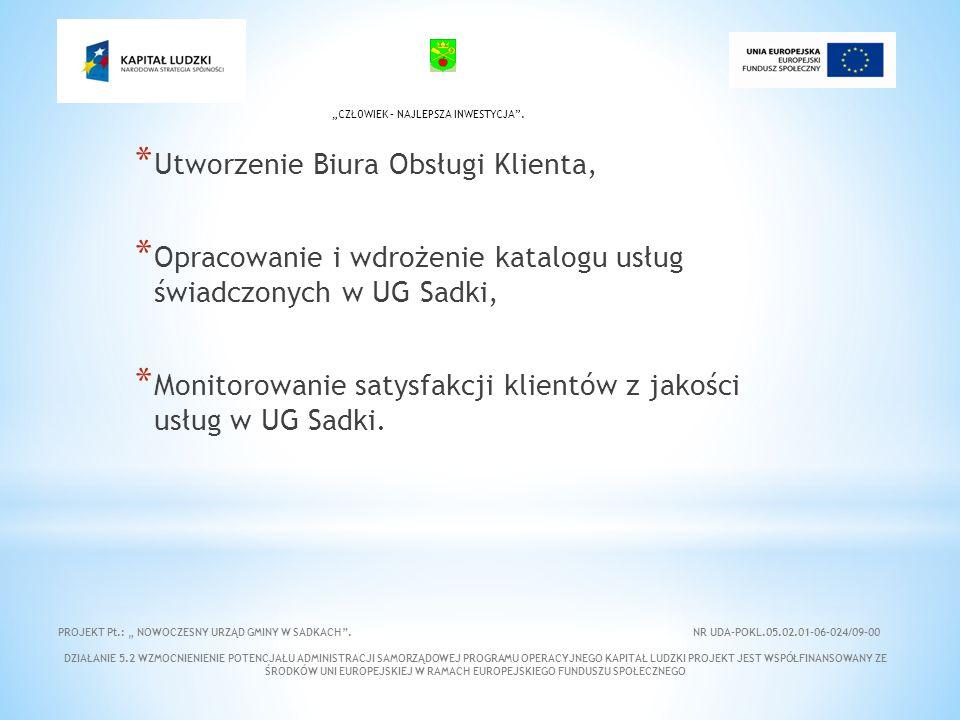 * Utworzenie Biura Obsługi Klienta, * Opracowanie i wdrożenie katalogu usług świadczonych w UG Sadki, * Monitorowanie satysfakcji klientów z jakości usług w UG Sadki.