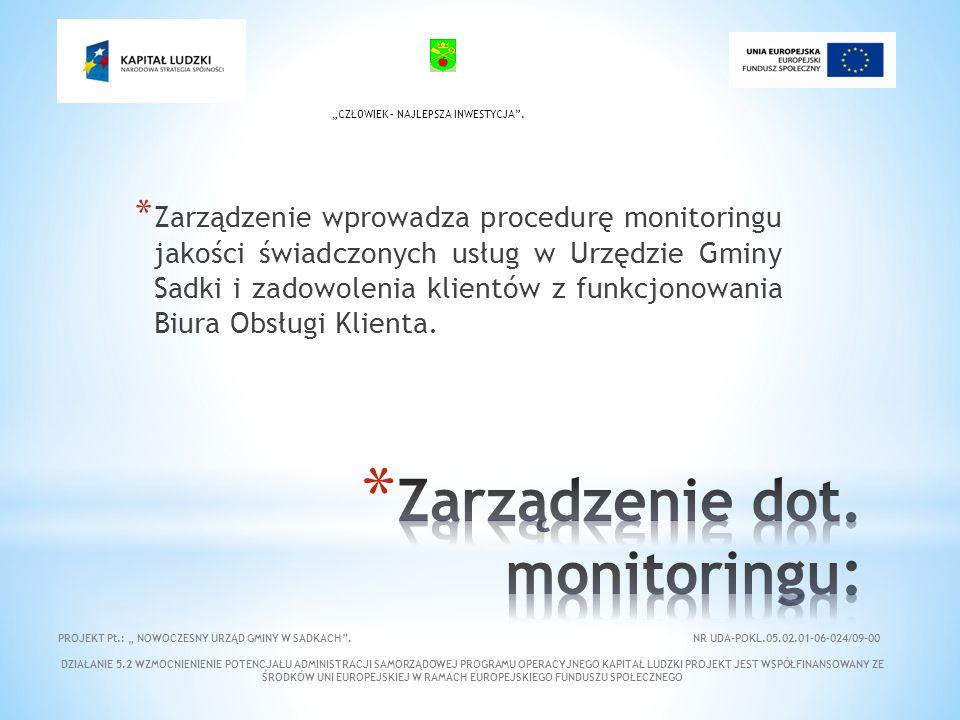 * Zarządzenie wprowadza procedurę monitoringu jakości świadczonych usług w Urzędzie Gminy Sadki i zadowolenia klientów z funkcjonowania Biura Obsługi Klienta.