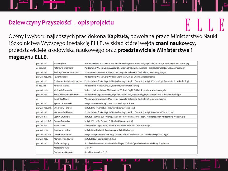 Oceny i wyboru najlepszych prac dokona Kapituła, powołana przez Ministerstwo Nauki i Szkolnictwa Wyższego i redakcję ELLE, w skład której wejdą znani