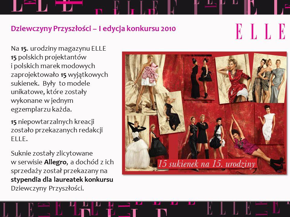 Na 15. urodziny magazynu ELLE 15 polskich projektantów i polskich marek modowych zaprojektowało 15 wyjątkowych sukienek. Były to modele unikatowe, któ