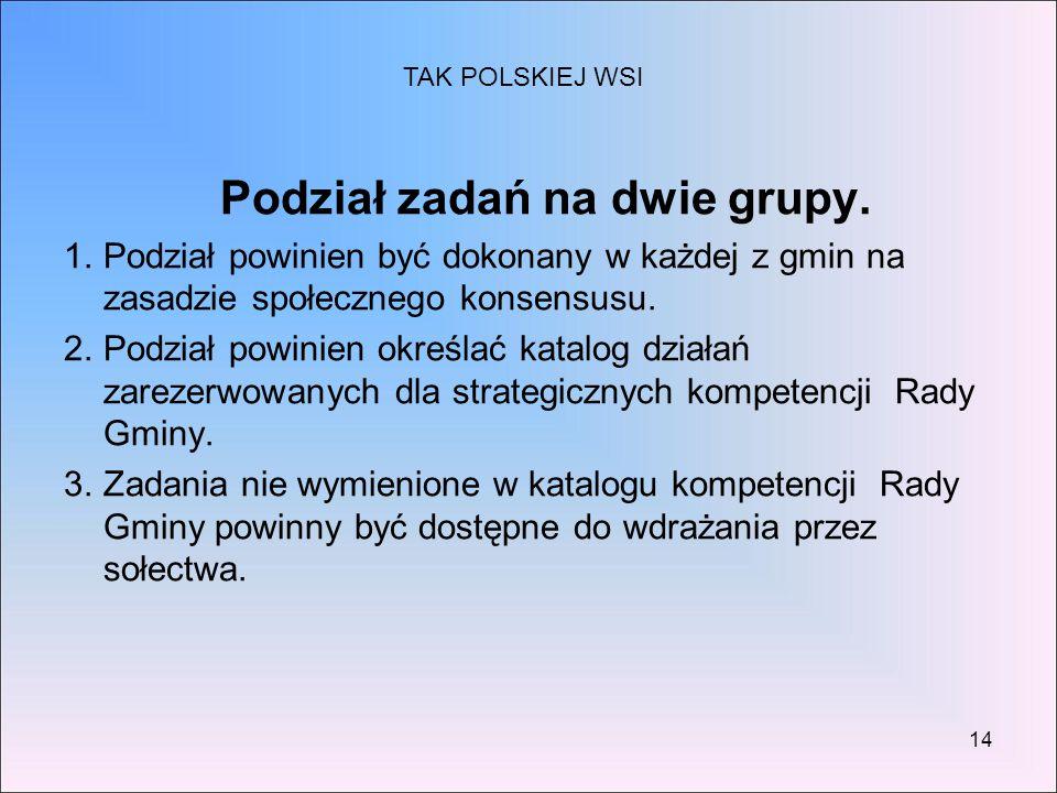 14 Podział zadań na dwie grupy. 1.Podział powinien być dokonany w każdej z gmin na zasadzie społecznego konsensusu. 2.Podział powinien określać katalo
