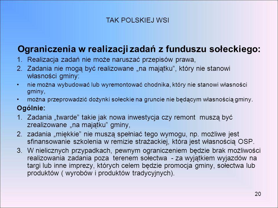 """20 Ograniczenia w realizacji zadań z funduszu sołeckiego: 1.Realizacja zadań nie może naruszać przepisów prawa, 2.Zadania nie mogą być realizowane """"na"""