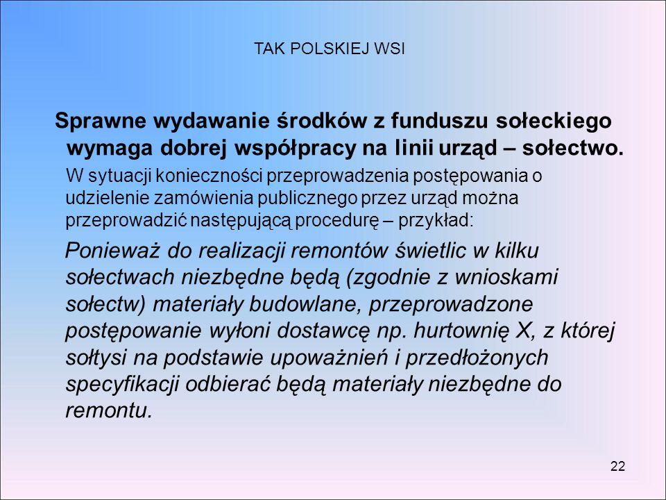 22 Sprawne wydawanie środków z funduszu sołeckiego wymaga dobrej współpracy na linii urząd – sołectwo. W sytuacji konieczności przeprowadzenia postępo