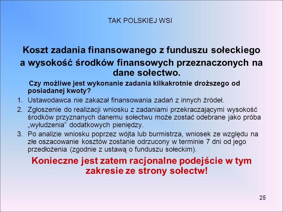 25 Koszt zadania finansowanego z funduszu sołeckiego a wysokość środków finansowych przeznaczonych na dane sołectwo. Czy możliwe jest wykonanie zadani