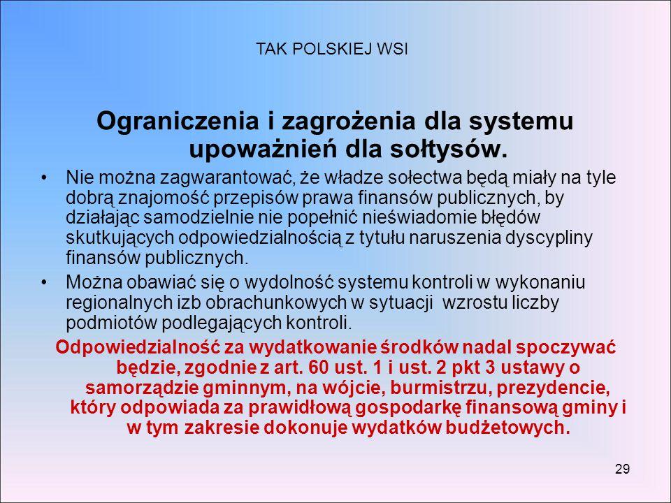 29 Ograniczenia i zagrożenia dla systemu upoważnień dla sołtysów. Nie można zagwarantować, że władze sołectwa będą miały na tyle dobrą znajomość przep