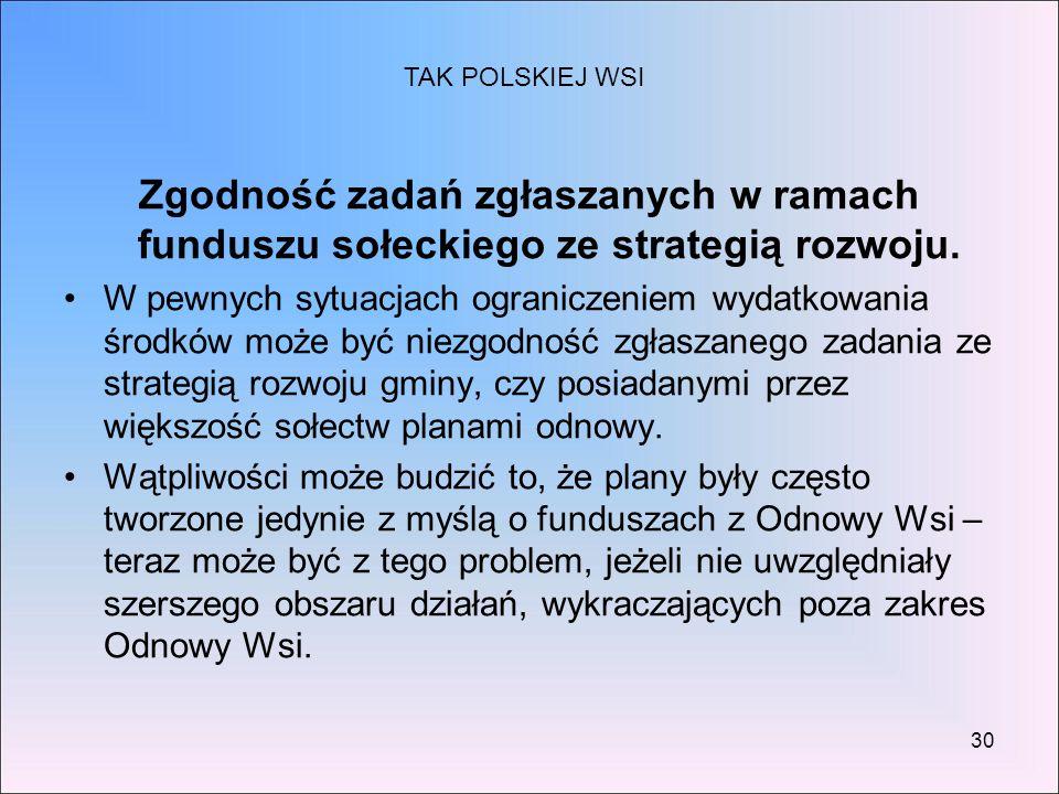 30 Zgodność zadań zgłaszanych w ramach funduszu sołeckiego ze strategią rozwoju. W pewnych sytuacjach ograniczeniem wydatkowania środków może być niez