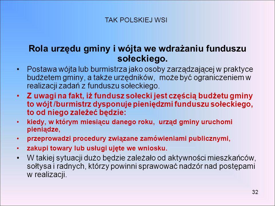 32 Rola urzędu gminy i wójta we wdrażaniu funduszu sołeckiego. Postawa wójta lub burmistrza jako osoby zarządzającej w praktyce budżetem gminy, a takż