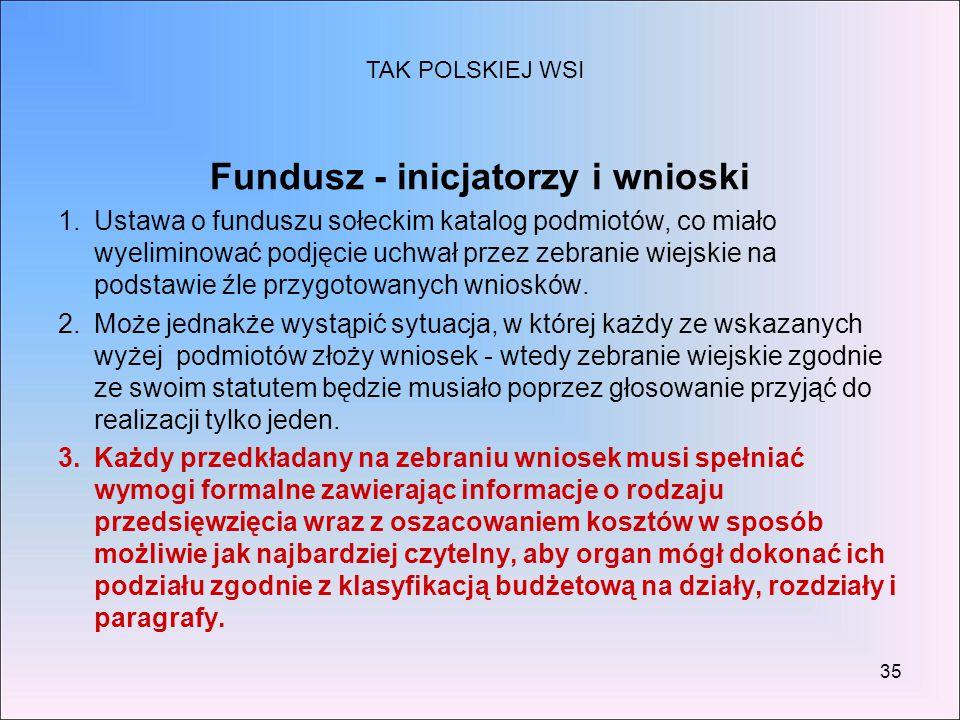 35 Fundusz - inicjatorzy i wnioski 1.Ustawa o funduszu sołeckim katalog podmiotów, co miało wyeliminować podjęcie uchwał przez zebranie wiejskie na po
