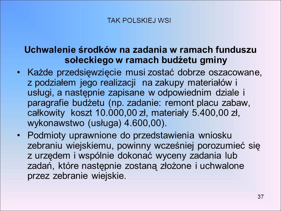 37 Uchwalenie środków na zadania w ramach funduszu sołeckiego w ramach budżetu gminy Każde przedsięwzięcie musi zostać dobrze oszacowane, z podziałem