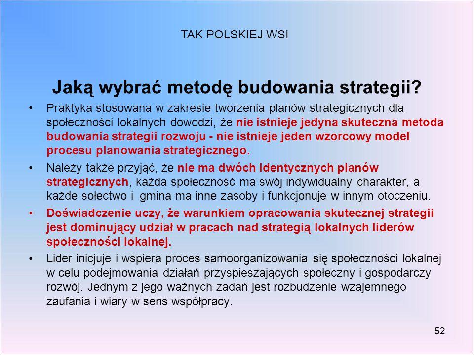 52 Jaką wybrać metodę budowania strategii? Praktyka stosowana w zakresie tworzenia planów strategicznych dla społeczności lokalnych dowodzi, że nie is