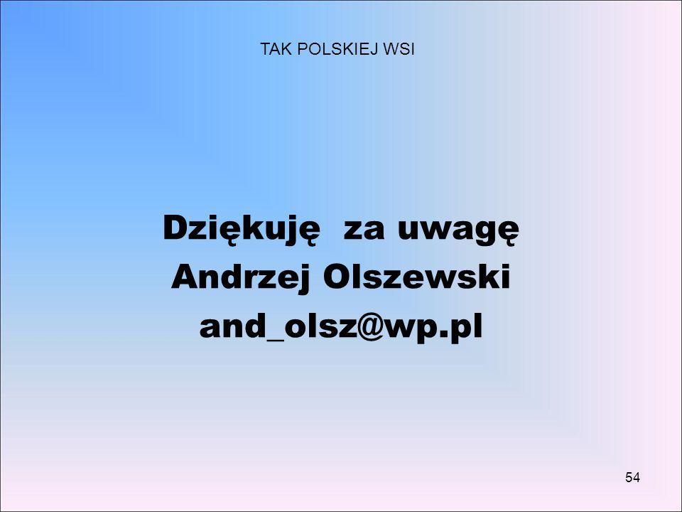 54 Dziękuję za uwagę Andrzej Olszewski and_olsz@wp.pl TAK POLSKIEJ WSI