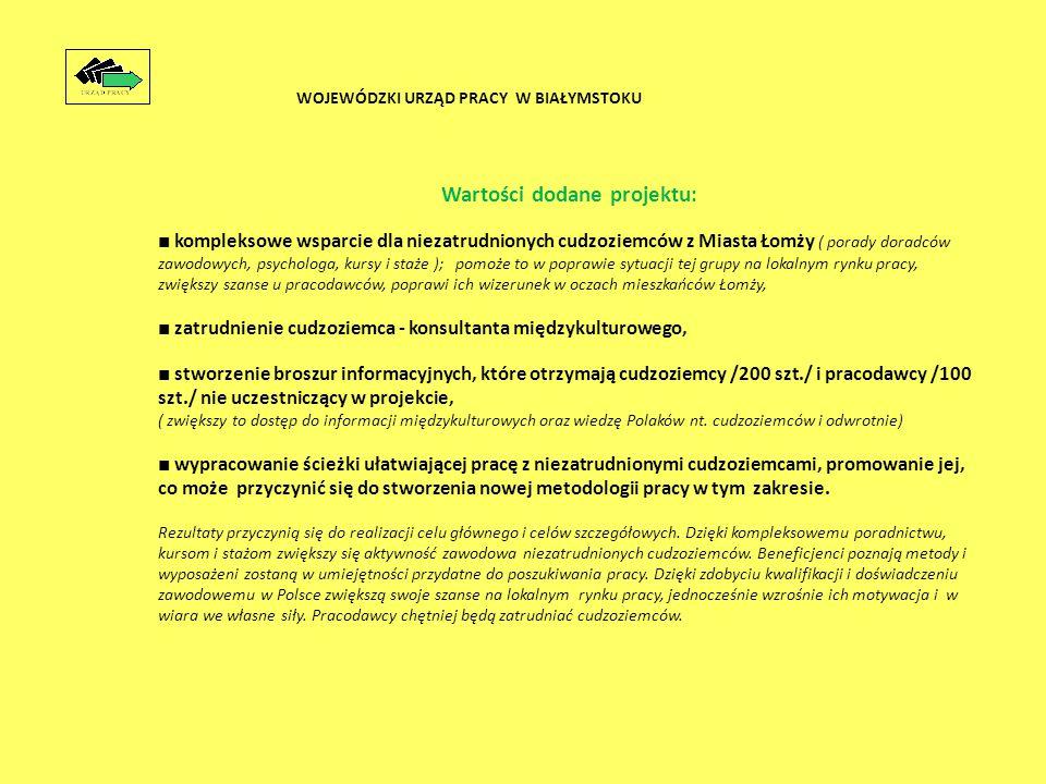Wartości dodane projektu: ■ kompleksowe wsparcie dla niezatrudnionych cudzoziemców z Miasta Łomży ( porady doradców zawodowych, psychologa, kursy i staże ); pomoże to w poprawie sytuacji tej grupy na lokalnym rynku pracy, zwiększy szanse u pracodawców, poprawi ich wizerunek w oczach mieszkańców Łomży, ■ zatrudnienie cudzoziemca - konsultanta międzykulturowego, ■ stworzenie broszur informacyjnych, które otrzymają cudzoziemcy /200 szt./ i pracodawcy /100 szt./ nie uczestniczący w projekcie, ( zwiększy to dostęp do informacji międzykulturowych oraz wiedzę Polaków nt.