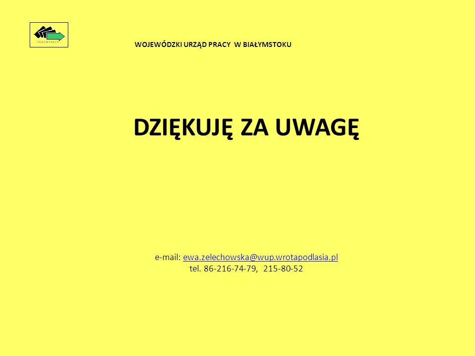 DZIĘKUJĘ ZA UWAGĘ e-mail: ewa.zelechowska@wup.wrotapodlasia.plewa.zelechowska@wup.wrotapodlasia.pl tel.