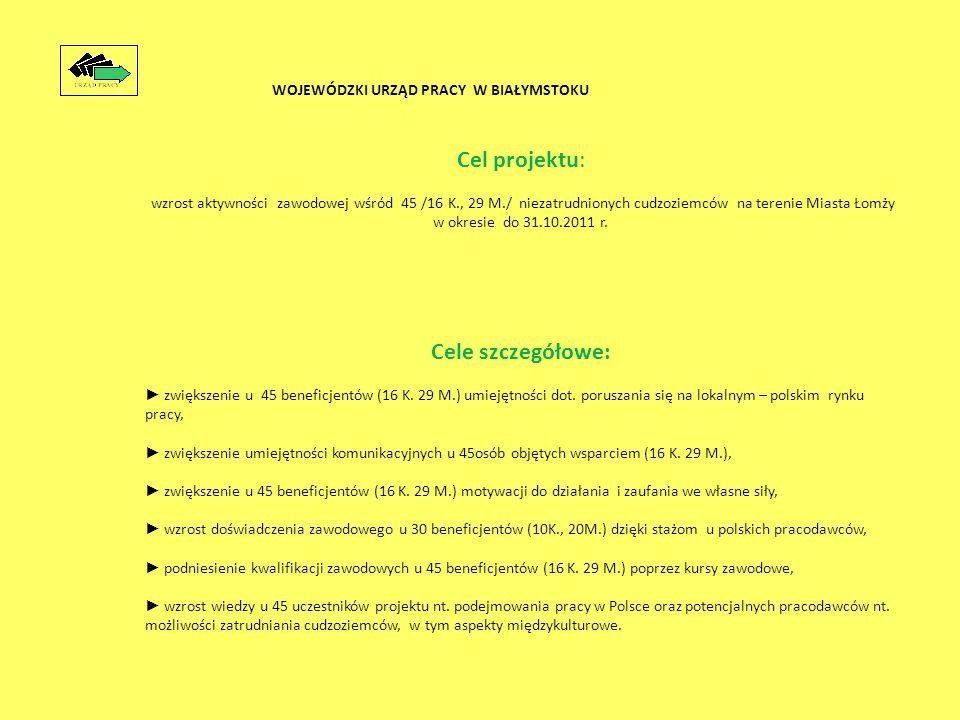 Cel projektu: wzrost aktywności zawodowej wśród 45 /16 K., 29 M./ niezatrudnionych cudzoziemców na terenie Miasta Łomży w okresie do 31.10.2011 r.