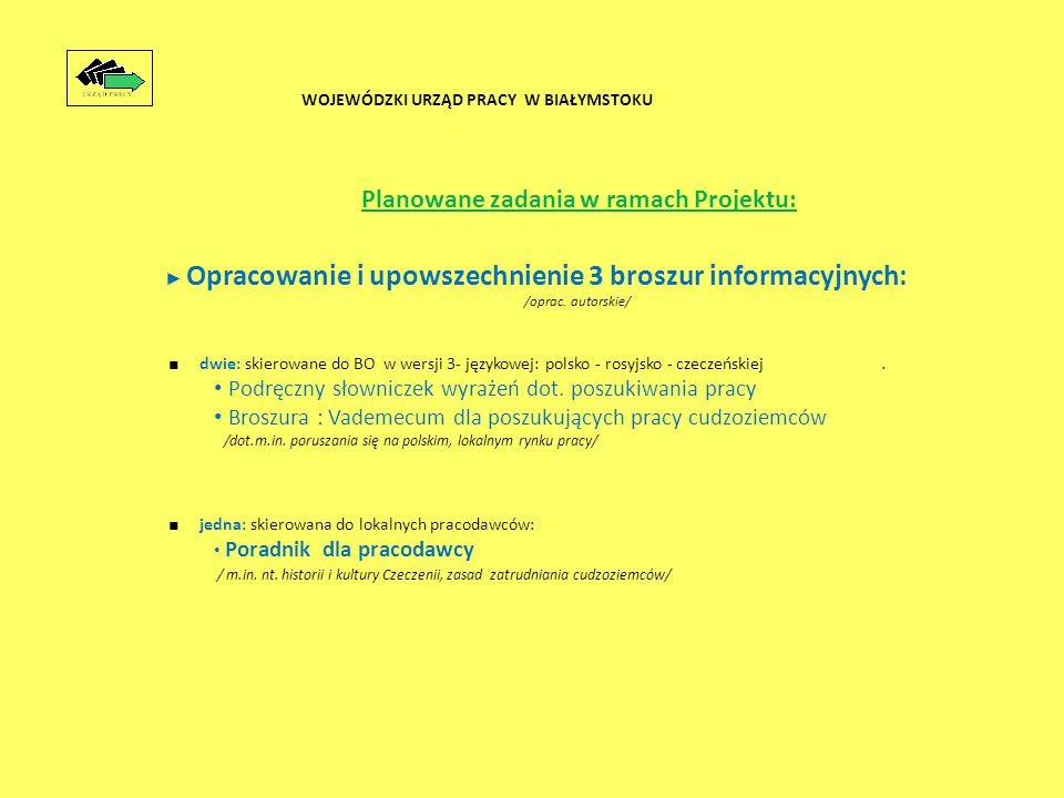 Planowane zadania w ramach Projektu: ► Opracowanie i upowszechnienie 3 broszur informacyjnych: /oprac.