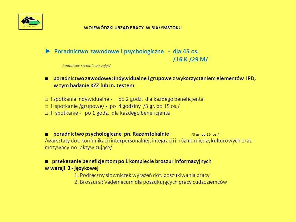 ► Poradnictwo zawodowe i psychologiczne - dla 45 os.