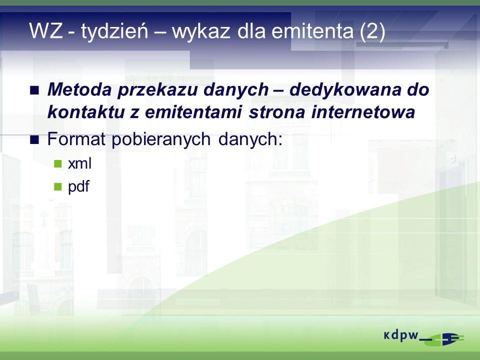 WZ - tydzień – wykaz dla emitenta (2) Metoda przekazu danych – dedykowana do kontaktu z emitentami strona internetowa Format pobieranych danych: xml pdf