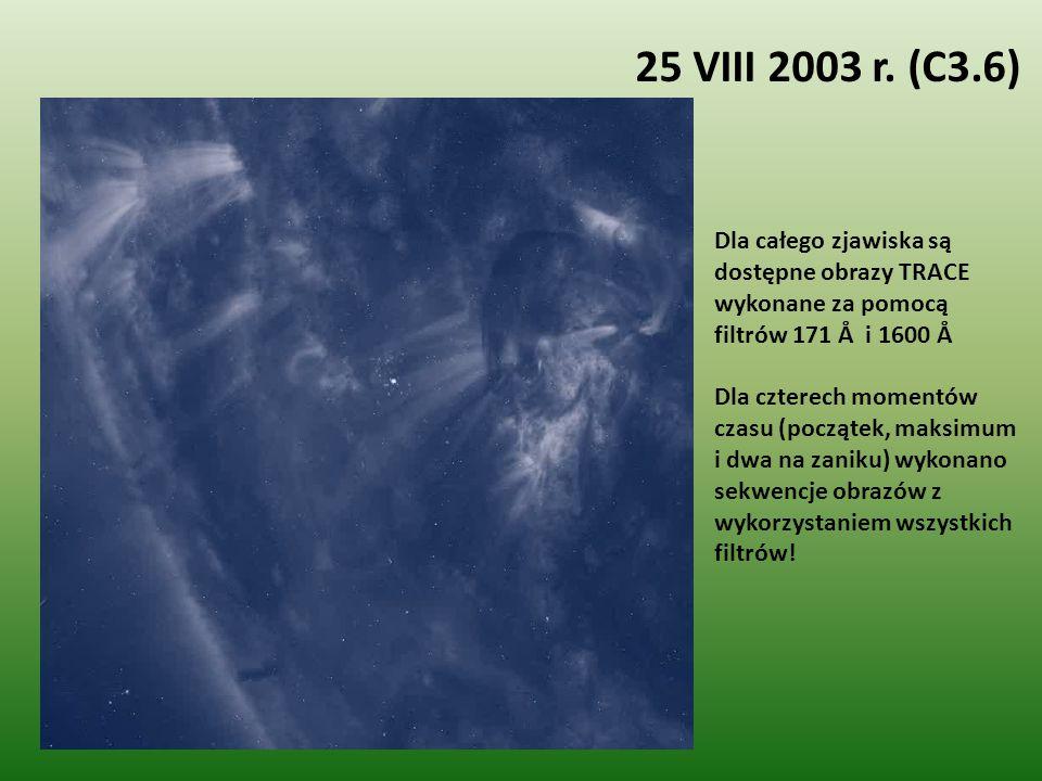 Dla całego zjawiska są dostępne obrazy TRACE wykonane za pomocą filtrów 171 Å i 1600 Å Dla czterech momentów czasu (początek, maksimum i dwa na zaniku