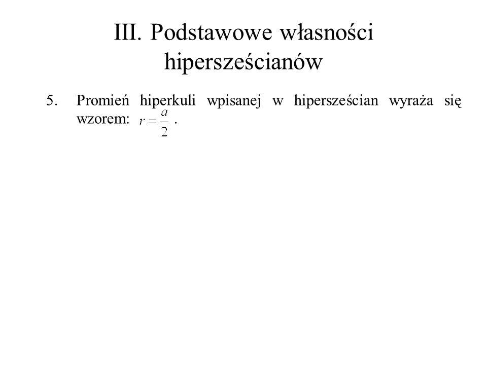 III. Podstawowe własności hipersześcianów 5.Promień hiperkuli wpisanej w hipersześcian wyraża się wzorem:.