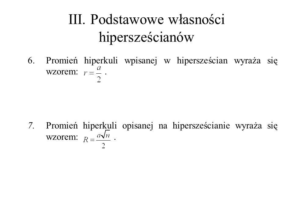III. Podstawowe własności hipersześcianów 6.Promień hiperkuli wpisanej w hipersześcian wyraża się wzorem:. 7.Promień hiperkuli opisanej na hipersześci
