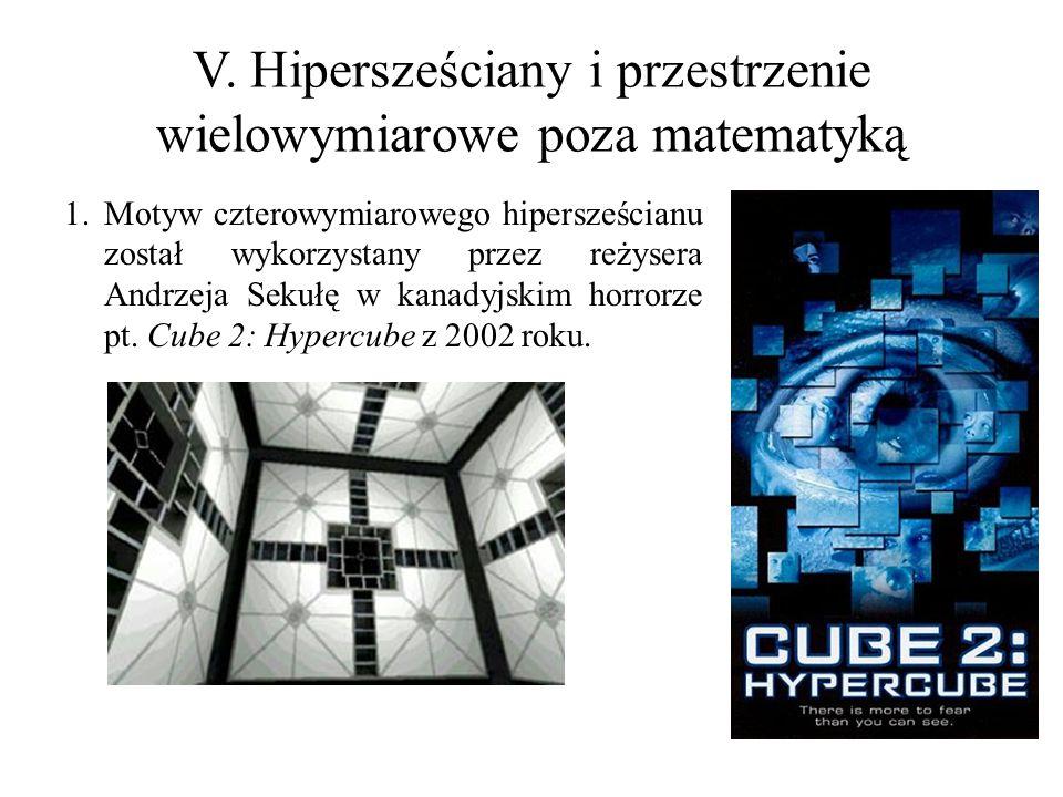 V. Hipersześciany i przestrzenie wielowymiarowe poza matematyką 1.Motyw czterowymiarowego hipersześcianu został wykorzystany przez reżysera Andrzeja S