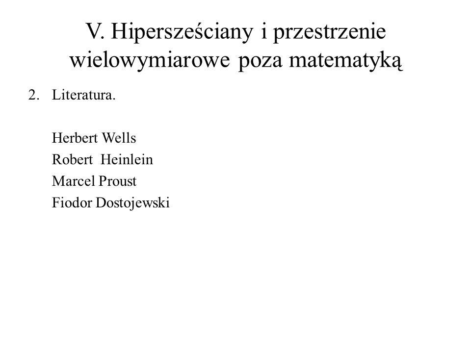 V. Hipersześciany i przestrzenie wielowymiarowe poza matematyką 2.Literatura. Herbert Wells Robert Heinlein Marcel Proust Fiodor Dostojewski