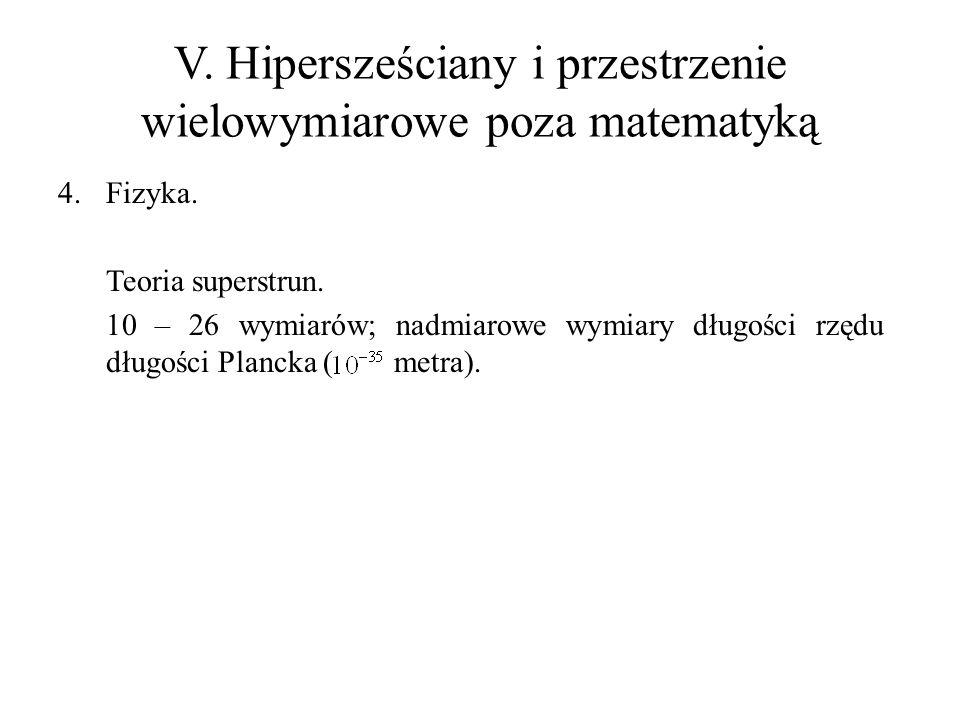 V. Hipersześciany i przestrzenie wielowymiarowe poza matematyką 4.Fizyka. Teoria superstrun. 10 – 26 wymiarów; nadmiarowe wymiary długości rzędu długo