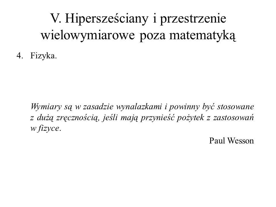 V. Hipersześciany i przestrzenie wielowymiarowe poza matematyką 4.Fizyka. Wymiary są w zasadzie wynalazkami i powinny być stosowane z dużą zręcznością