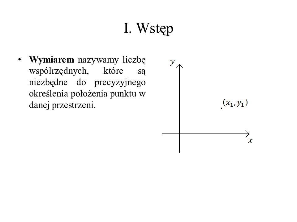Wymiarem nazywamy liczbę współrzędnych, które są niezbędne do precyzyjnego określenia położenia punktu w danej przestrzeni.