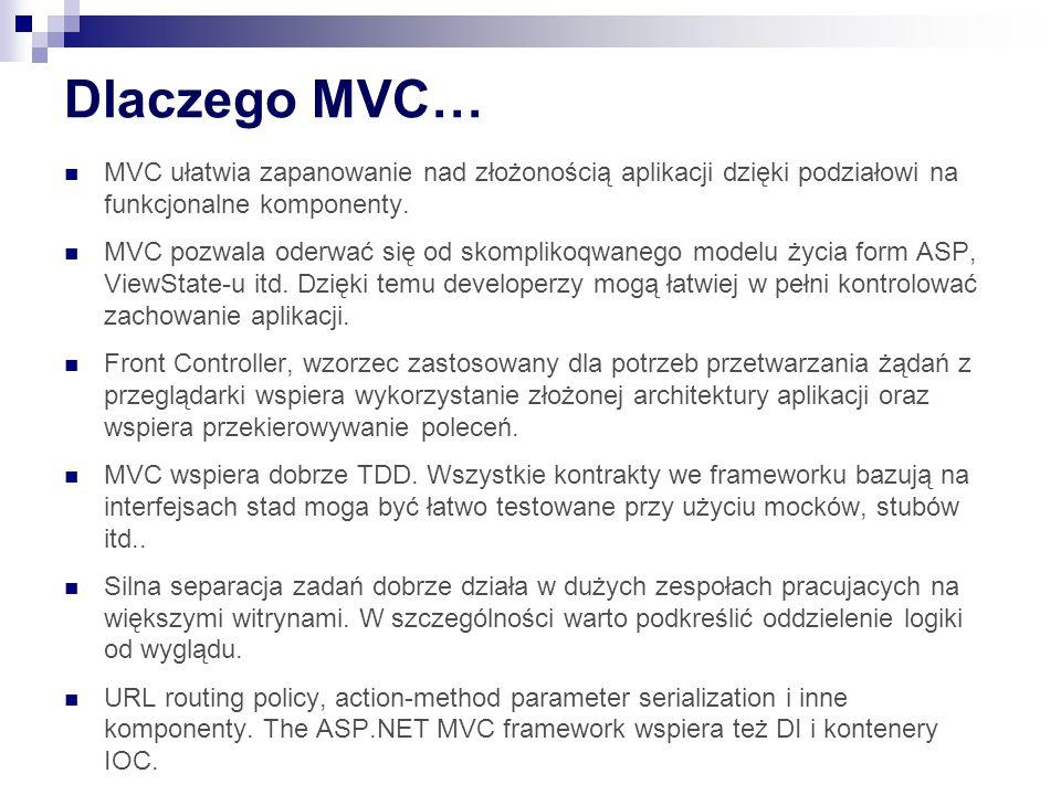 Dlaczego MVC… MVC ułatwia zapanowanie nad złożonością aplikacji dzięki podziałowi na funkcjonalne komponenty.