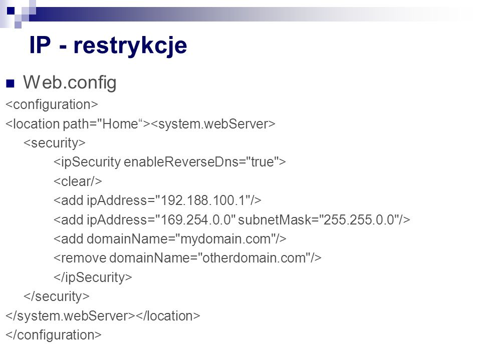 IP - restrykcje Web.config