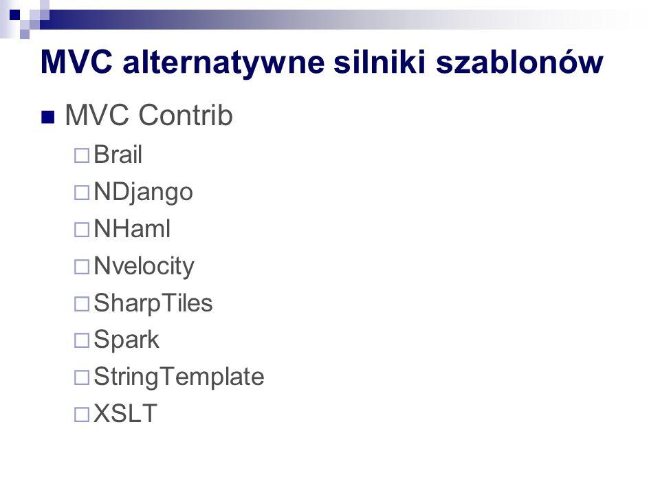 MVC alternatywne silniki szablonów MVC Contrib  Brail  NDjango  NHaml  Nvelocity  SharpTiles  Spark  StringTemplate  XSLT