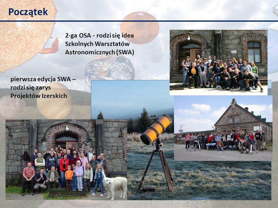 Początek 2-ga OSA - rodzi się idea Szkolnych Warsztatów Astronomicznych (SWA) pierwsza edycja SWA – rodzi się zarys Projektów Izerskich