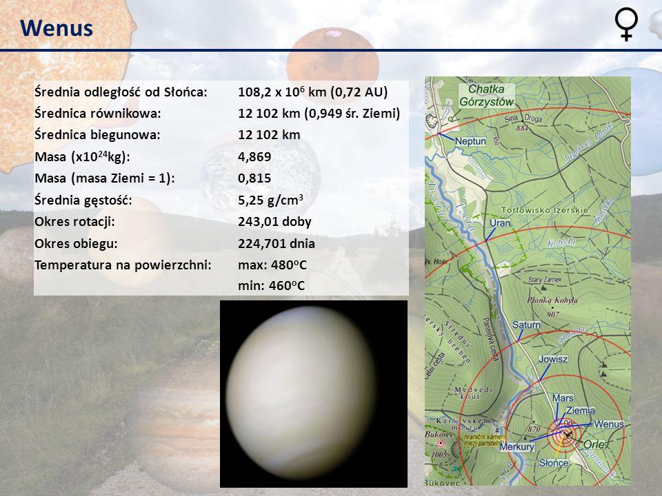 Wenus Średnia odległość od Słońca:108,2 x 10 6 km (0,72 AU) Średnica równikowa:12 102 km (0,949 śr. Ziemi) Średnica biegunowa:12 102 km Masa (x10 24 k