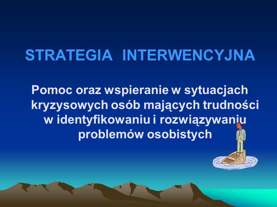 STRATEGIA INTERWENCYJNA Pomoc oraz wspieranie w sytuacjach kryzysowych osób mających trudności w identyfikowaniu i rozwiązywaniu problemów osobistych