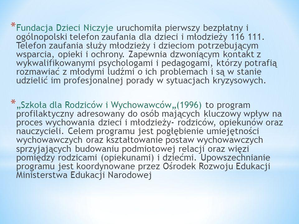 * Fundacja Dzieci Niczyje uruchomiła pierwszy bezpłatny i ogólnopolski telefon zaufania dla dzieci i młodzieży 116 111. Telefon zaufania służy młodzie