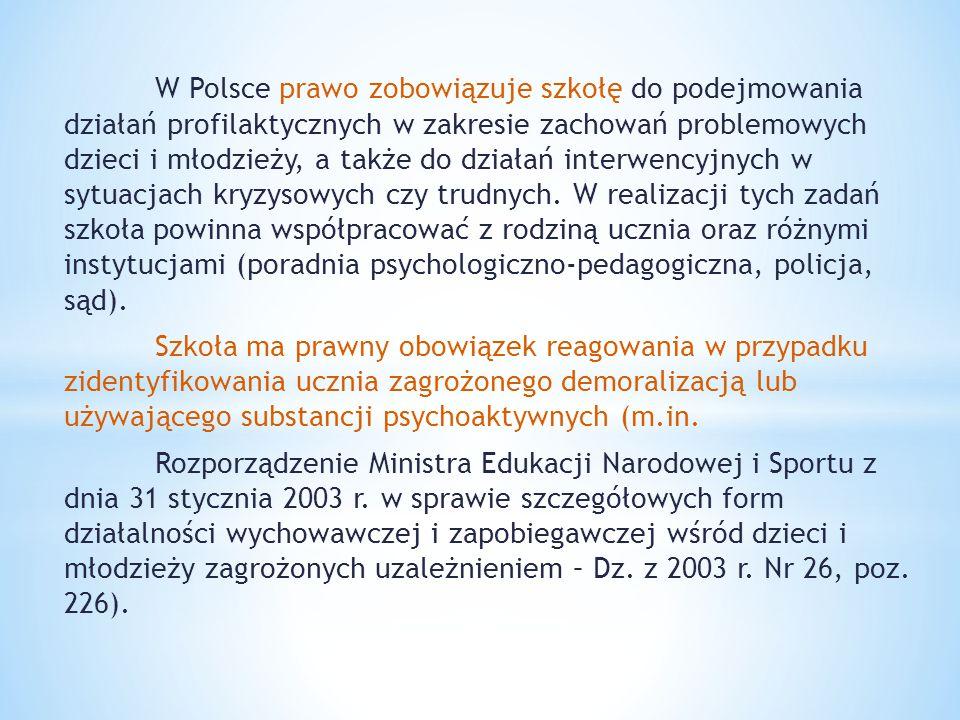 W Polsce prawo zobowiązuje szkołę do podejmowania działań profilaktycznych w zakresie zachowań problemowych dzieci i młodzieży, a także do działań int