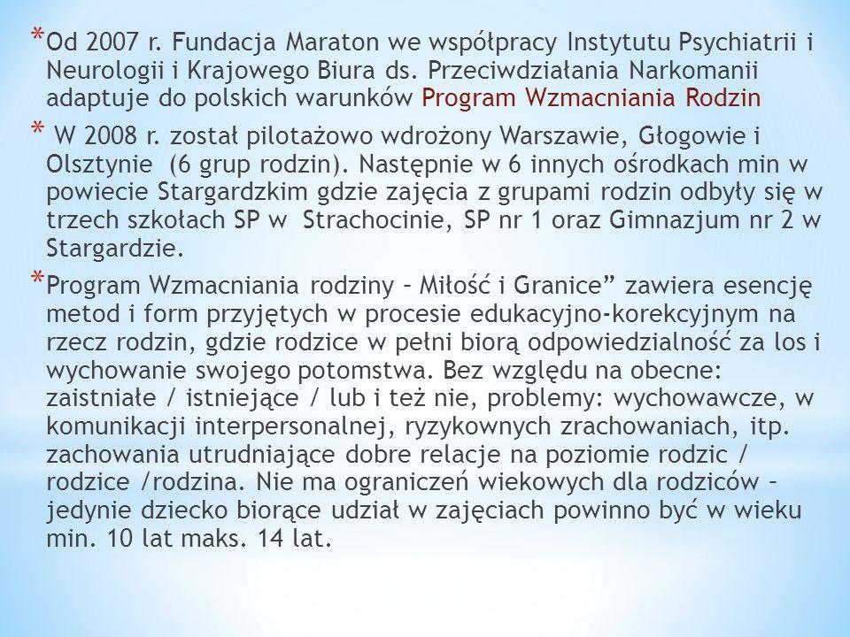 * Od 2007 r. Fundacja Maraton we współpracy Instytutu Psychiatrii i Neurologii i Krajowego Biura ds. Przeciwdziałania Narkomanii adaptuje do polskich