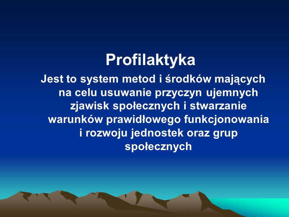 Profilaktyka Jest to system metod i środków mających na celu usuwanie przyczyn ujemnych zjawisk społecznych i stwarzanie warunków prawidłowego funkcjo