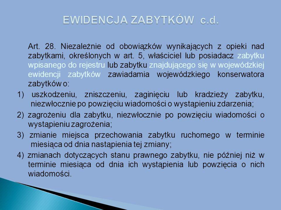 Art.28. Niezależnie od obowiązków wynikających z opieki nad zabytkami, określonych w art.