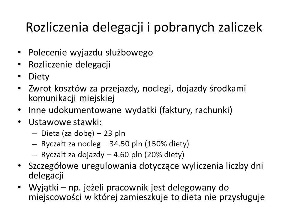 Rozliczenia delegacji i pobranych zaliczek Polecenie wyjazdu służbowego Rozliczenie delegacji Diety Zwrot kosztów za przejazdy, noclegi, dojazdy środk