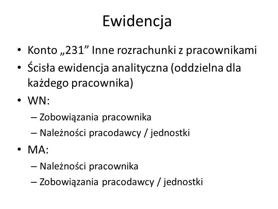 """Ewidencja Konto """"231 Inne rozrachunki z pracownikami Ścisła ewidencja analityczna (oddzielna dla każdego pracownika) WN: – Zobowiązania pracownika – Należności pracodawcy / jednostki MA: – Należności pracownika – Zobowiązania pracodawcy / jednostki"""