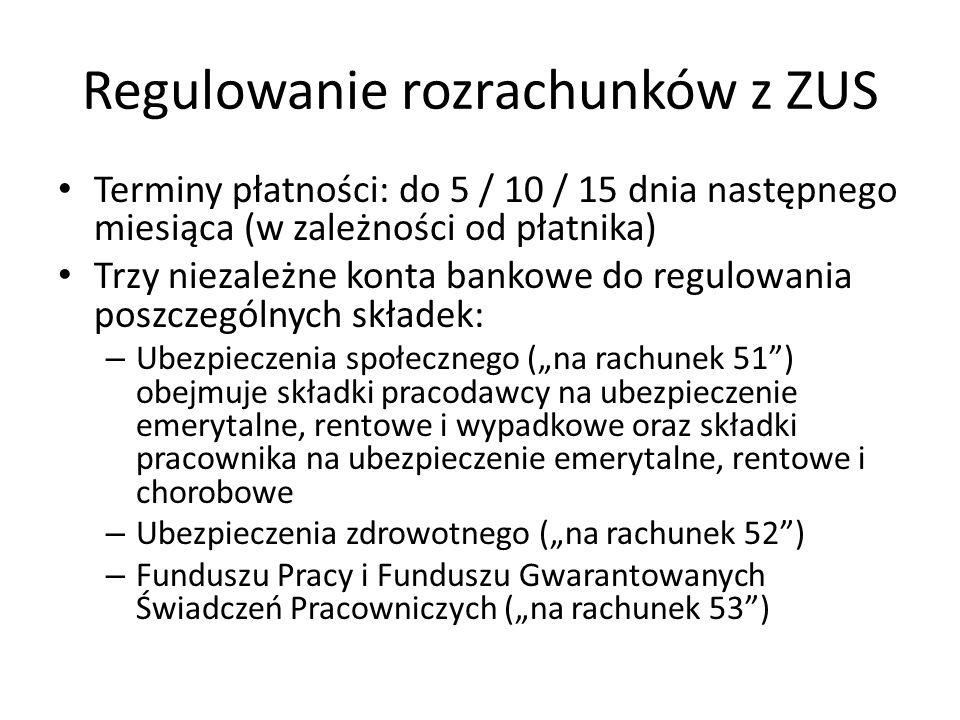 Regulowanie rozrachunków z ZUS Terminy płatności: do 5 / 10 / 15 dnia następnego miesiąca (w zależności od płatnika) Trzy niezależne konta bankowe do