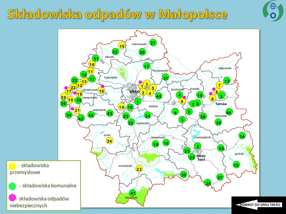 składowiska przemysłowe - składowiska przemysłowe - składowiska komunalne - składowiska komunalne - składowiska odpadów niebezpiecznych - składowiska odpadów niebezpiecznych