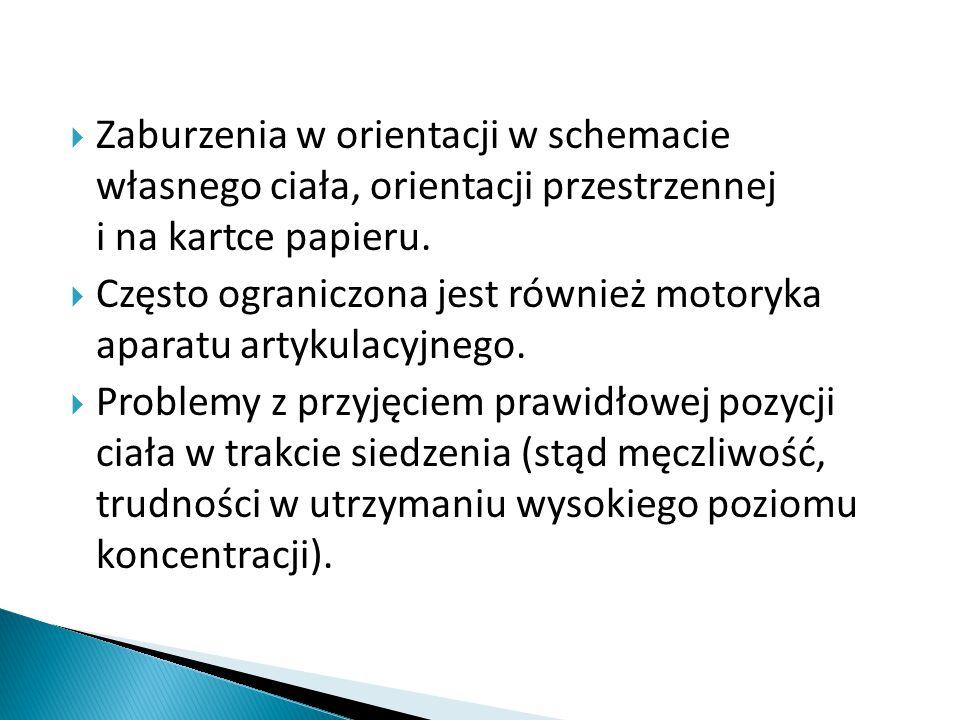  Zaburzenia w orientacji w schemacie własnego ciała, orientacji przestrzennej i na kartce papieru.  Często ograniczona jest również motoryka aparatu