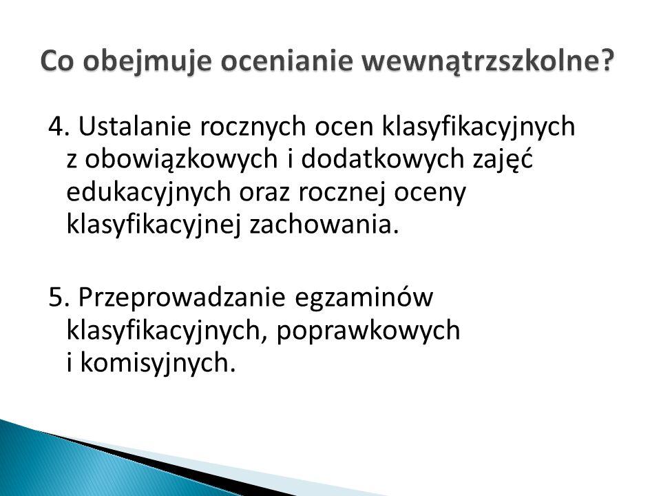 4. Ustalanie rocznych ocen klasyfikacyjnych z obowiązkowych i dodatkowych zajęć edukacyjnych oraz rocznej oceny klasyfikacyjnej zachowania. 5. Przepro