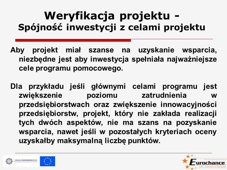 Weryfikacja projektu - Spójność inwestycji z celami projektu Aby projekt miał szanse na uzyskanie wsparcia, niezbędne jest aby inwestycja spełniała najważniejsze cele programu pomocowego.