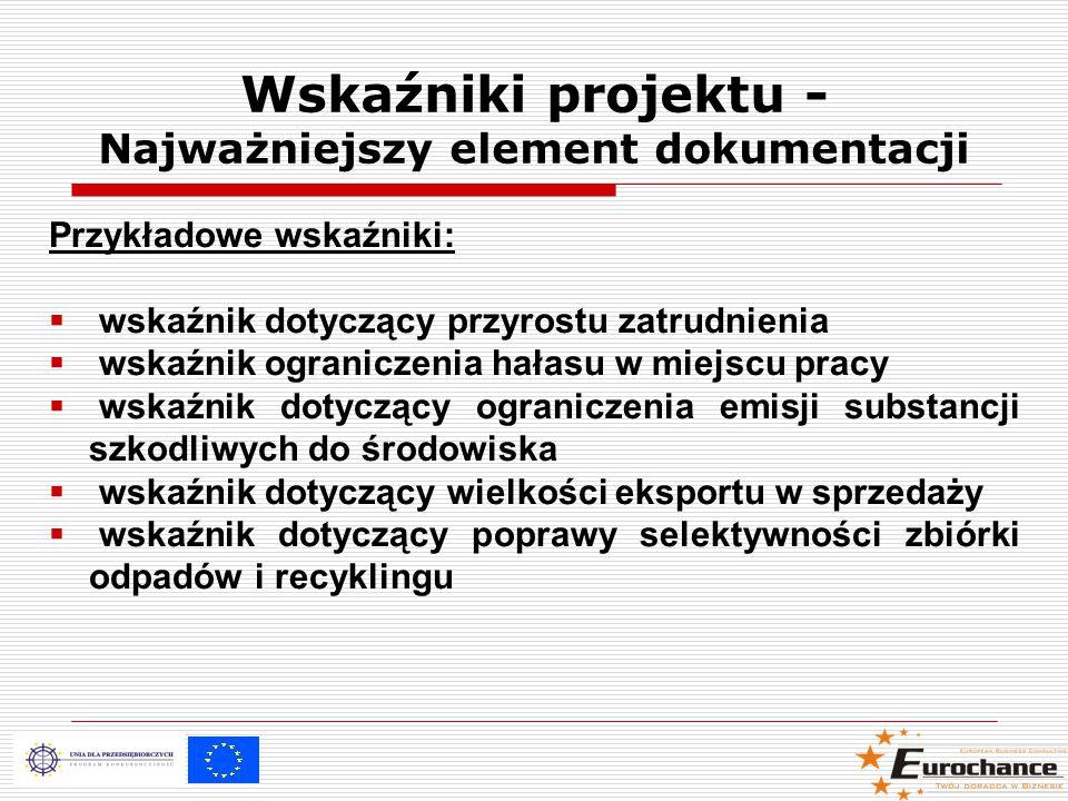Przykładowe wskaźniki:  wskaźnik dotyczący przyrostu zatrudnienia  wskaźnik ograniczenia hałasu w miejscu pracy  wskaźnik dotyczący ograniczenia emisji substancji szkodliwych do środowiska  wskaźnik dotyczący wielkości eksportu w sprzedaży  wskaźnik dotyczący poprawy selektywności zbiórki odpadów i recyklingu Wskaźniki projektu - Najważniejszy element dokumentacji
