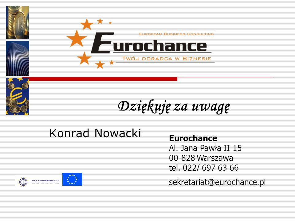 Dziękuję za uwagę Eurochance Al. Jana Pawła II 15 00-828 Warszawa tel.