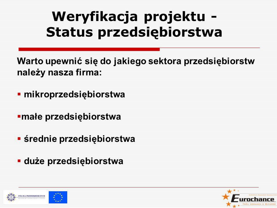 Weryfikacja projektu - Status przedsiębiorstwa Warto upewnić się do jakiego sektora przedsiębiorstw należy nasza firma:  mikroprzedsiębiorstwa  małe przedsiębiorstwa  średnie przedsiębiorstwa  duże przedsiębiorstwa